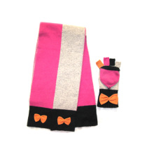 100%Lambswool Colorblock Scarf &Magic Glove