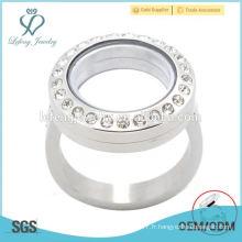Diy argent / or / rose or 316l en acier inoxydable coeur forme verre magnétique ouvert mémoire vivante flottant locket anneaux