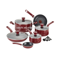 Nonstick Thermo-Spot Dishwasher Safe Oven Safe PFOA Free Cookware Set, 14-Piece, Red