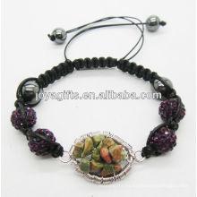 10MM púrpura Bolas de cristal pulsera tejida con árbol de suerte