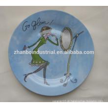 Placa plana de cerâmica com decalque completo, placa de jantar de porcelana