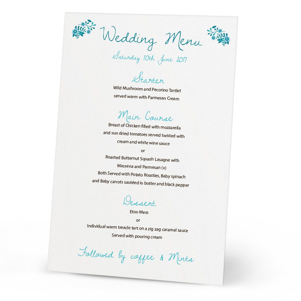 menu wedding