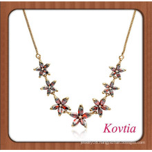 african gold plated fashion red crystal flower chain necklace wholesale 99 cent store items