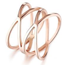 Personalidad de oro rosa mujer partido anillos estilo Punk mujer completo acero inoxidable joyería de accesorios de 14MM de ancho