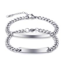 High Polished Stainless Steel Chain Blank Custom letter Curved Bar Bracelet