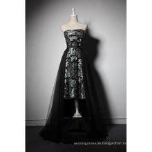 LSQ046 Strapless natural waist short front long back online dress shopping african balck maxi dress