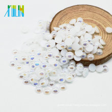 New Arrival A14-Pure white AB Color Half Round Faux Loose Pearls for Jewelry Making