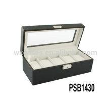 caixa de relógio de couro de luxo para homens segurando 5 relógios fabricante