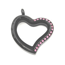 Black Plated Half Pink Crystal Heart Shaped Glass Locket