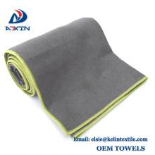 juego de gery color de 2 toalla de yoga de microfibra Non Slip not Skid con borde elástico alto