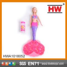 Muñeca de niña de la máquina de la burbuja juguetes de juguetes de la burbuja de la sirena