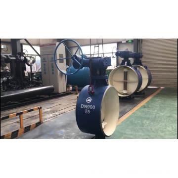 Válvula de borboleta de gás de água tripla excêntrica metal selo duro válvula de borboleta caixa de engrenagem da válvula de borboleta
