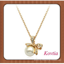 Latest design knotbow pearl necklace for ladies party dress