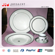 Heißes verkaufendes weißes Porzellan mit einfacher Abziehbild-Salatplatte