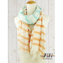 Ladies Voile Long Winter Scarf Wholesale Customized Women Streak Stripe Printed Scarf