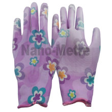 NMSAFETY pu working glove/pu coated gloves/flowery nylon liner printed pu gloves