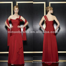 NY-1969 Two tone chiffon a-line with one shoulder mother dress