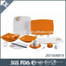 65pcs square orange polka dots design dinner sets unique restaurant dinnerware