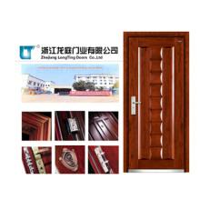 Diseño de puerta principal blindada de madera de acero con manija Rob