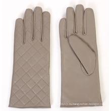 Леди мода проверено шаблон кожаный перчатки для вождения (YKY5163)
