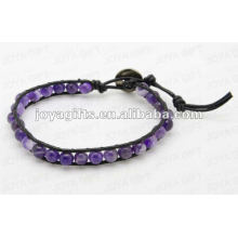 Amistad pulseras con perlas de piedra Amatista