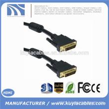 DVI-D 24 + 1 broche Câble double câble DVI mâle à mâle avec 2 noyaux Or 1.8m