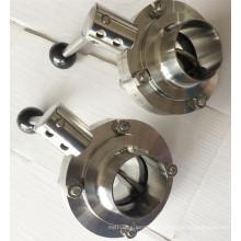 Valve papillon sanitaire en acier inoxydable Alimentation Grade 304 / 316L Tc Clamp / Weld / Thread / Male-Female Connection Machine CNC