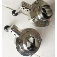 Гигиенический клапан-бабочка из нержавеющей стали Пищевой класс 304 / 316L Tc Clamp / Weld / Thread / Male-Female Connection Машина с ЧПУ