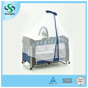 Prateleira de alumínio dobrável do bebê com a rede de mosquito elevada (SH-A1)