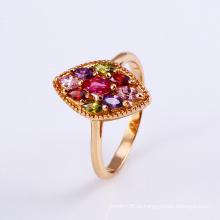 11796 Popular 18k anel de dedo de jóias de zircão colorido flor banhado a ouro em liga de cobre