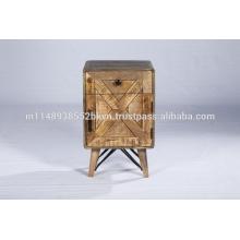 Reclinado Industrial Pequeño Cabinet Dormitorio Mesita de noche de madera
