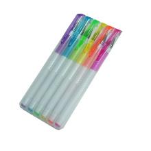 2014 New White Barrel Highlighter Gel Ink Pen Set in PP Box