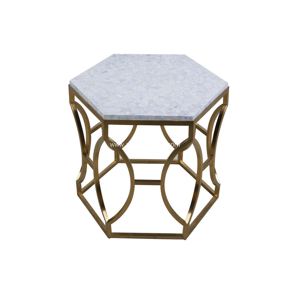 CANOSA Chinese fresh water shell tea table with golden stainless steel tea table