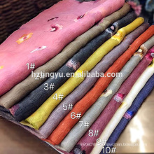 Factory directly selling fashion wool silk blend embroidered flowers hijab scarf