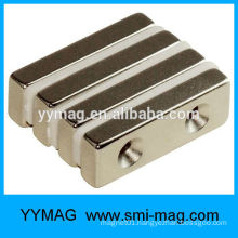 Neodymium magnet block with screw hole