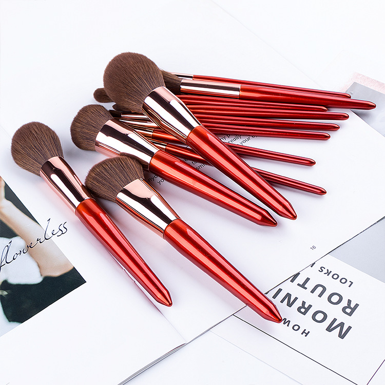 12 Stück rotes Make-up Pinsel Set Kosmetik Kit