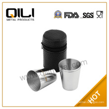Stainless Steel Cups with Leather Bag