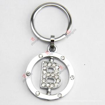 Rotatable Letter Metal Keychain avec strass pour cadeau