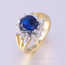jóia de guangzhou anel de dois tons chapeado com zircão da safira