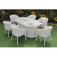 2017 Durable Polyethylene Rattan Powder Coated Aluminum Frame Dining Set for Outdoor Furniture