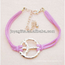 Peace symbol alloy leather bracelet
