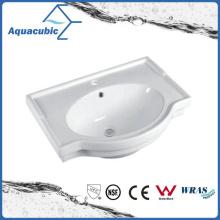 Lavatório de lavagem de mãos de lavatório de cerâmica com banheiro semi-embutido (ACB5045A)