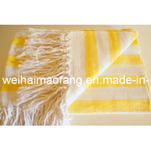 Hot Sale of Cotton Throw /Fringed Cotton Blanket