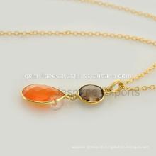 Gold überzogene Sterlingsilber-Chalcedon-Silber-Schmucksachen