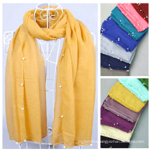 Factory sell hijab fashion arabic scarfs beaded scarf pattern wholesale hijab with pearls