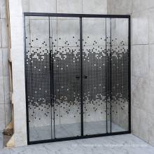 Rectangle Black Profile Square Point Glass Corner Shower Room with Two Sliding Door