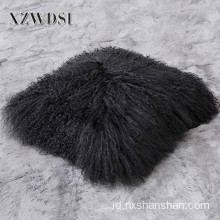 Square Sofa Dekorasi Nyata Mongolia Lamb Fur Pillow