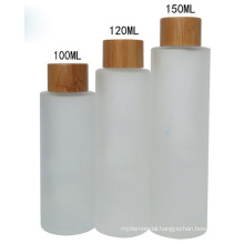 unique design 100ml 120ml 150ml bamboo bottles frosted cosmetic glass bottle bamboo cap bamboo face cream jars