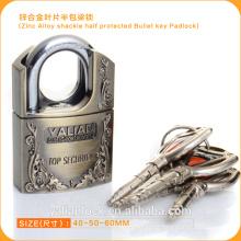 Europe Market Good Quality Zinc Alloy Shackle Half Protected Bullet Key Padlock