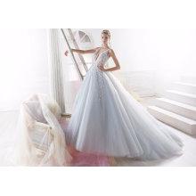 Синий Бисером Тюль Вечерние Свадебные Свадебное Платье